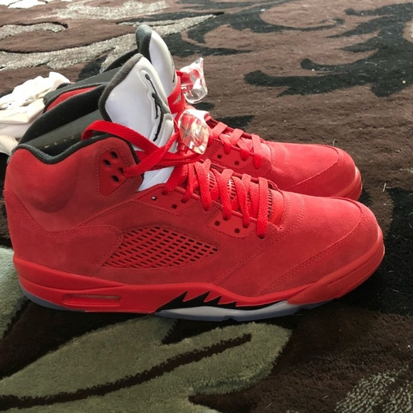 4e81d32c29705b Red suede retro Jordan 5s men s authentic